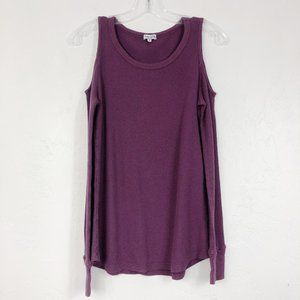 ! Splendid Purple Waffle Knit Cold Shoulder Shirt